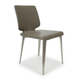image-City Grey Antiqued Leather Match Sq Armless Skypod Dining Chair set of 2