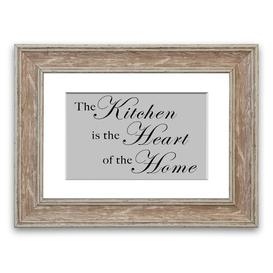 image-'The Kitchen Is the Heart of the Home' Framed Typography in Light Grey East Urban Home Size: 50 cm H x 70 cm W, Frame Options: Walnut