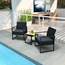 image-Bistro Sets For Garden, Rattan Garden Furniture Set 3 Pcs