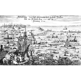 image-The Christmas Flood of 1717, 1719 - Graphic Art Print on Paper East Urban Home Size: Medium 40 cm H x 50 cm W x 0.2 cm D x