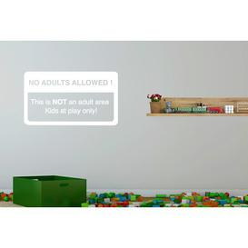 image-No Adults Allowed This Is Not an Adult Area Kids at Play Only Wall Sticker Happy Larry Size: Large, Colour: White