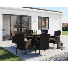 image-6 Seat Rattan Garden Dining Set With Large Round Dining Table Set in Brown - Cambridge