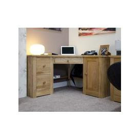 image-Reno Oak Corner Computer Desk