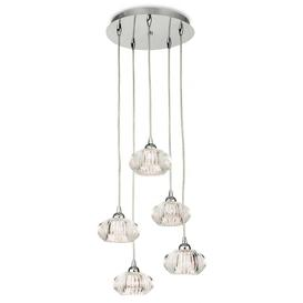 image-Firstlight 4859 Lisbon Five Light Ceiling Pendant Light In Chrome With Clear Decorative Glass Shades