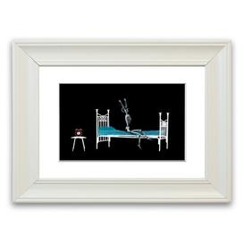 image-Skeleton Alarm Clock Cornwall Bedroom' - Picture Frame Photograph Print on Paper