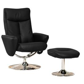 image-Carol Manual Swivel Recliner with Footstool Metro Lane Upholstery Colour: Black