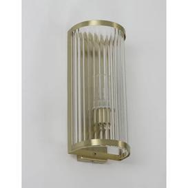 image-M&S Monroe Glass Flush Wall Light - Antique Brass, Antique Brass