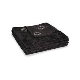 image-Single Black Velvet Eyelet Curtain 140x300