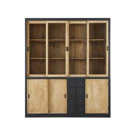 image-Solid Mango Wood and Tempered Glass 7-Door Dresser Cezanne