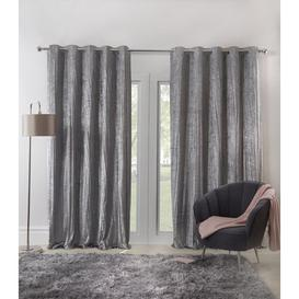 image-Crenwick Eyelet Room Darkening Curtains Canora Grey Colour: Silver, Panel Size: 117 W x 183 D cm
