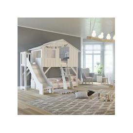 image-Mathy by Bols Treehouse Bunk Bed with Slide & Platform  - Mathy Basalte Grey