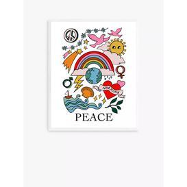 image-Kid of the Village - 'Peace' Wood Framed Print, 52 x 42cm, Multi