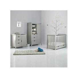 image-Obaby Stamford Mini Sleigh Cot Bed 3 Piece Nursery Set in Warm Grey