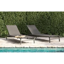 image-Havana - Modern Sun Lounger - Charcoal - Set of 2