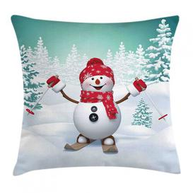 image-Priscille Christmas Skiing Snowman Trees Outdoor Cushion Cover Ebern Designs Size: 60cm H x 60cm W