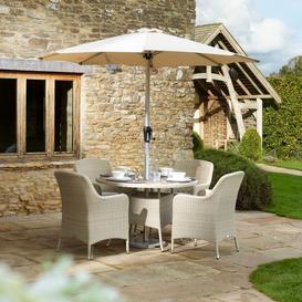 image-2021 Bramblecrest Tetbury 4-Seat Dining Set With Round Table & Parasol - Nutmeg