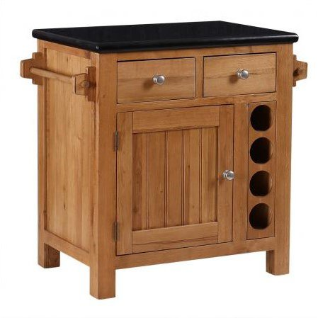 image-Evelyn Oak and Granite Small Kitchen Island with Wine Rack