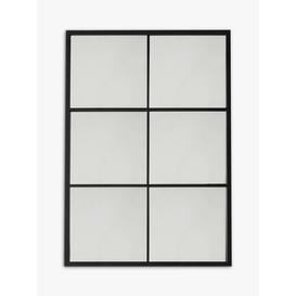 image-Rectangular Metal Frame Glass Pane Outdoor Wall Mirror, Black