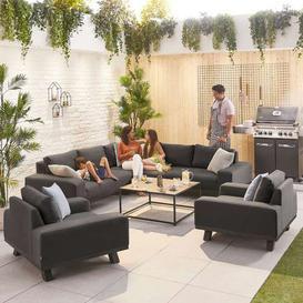 image-Nova Garden Furniture Tranquility Dark Grey Fabric Corner Sofa Set with 2 Lounge Chairs