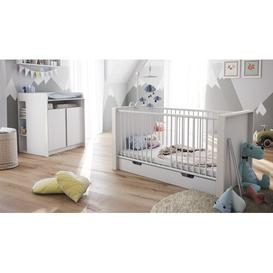 image-Nandini 2 Piece Nursery Furniture Set Vladon Colour: White (glossy), Bed frame included: Yes