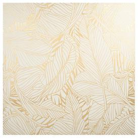 image-White and gold foliage printed canvas 80x80cm