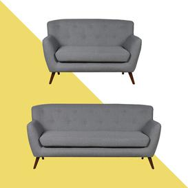 image-Caywood 2 Piece Sofa Set Hashtag Home Upholstery Colour: Dark Grey