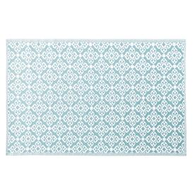 image-Blue Outdoor Rug with White Graphic Print 140x200
