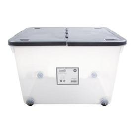 image-80L Silver Wheeled Plastic Storage Box with Folding Lid Silver