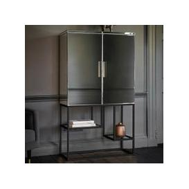 image-Lombok Mirrored Contemporary Bar Cabinet In Black With 2 Doors