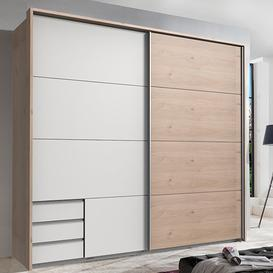image-Seattle Sliding Door Wooden Wardrobe In White And Hickory Oak