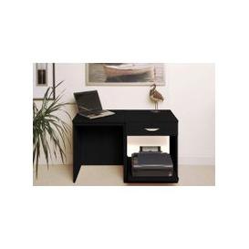 image-Small Office Desk Set With Single Drawer & Printer Shelf (Black Havana)