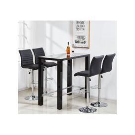 image-Jam Glass Bar Table Set Rectangular Black Gloss 4 Ripple Stools