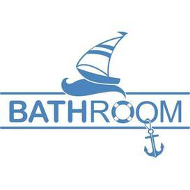 image-Bathroom, Sailboat Wall Sticker East Urban Home Colour: Light blue, Size: 40 cm H x 60 cm W