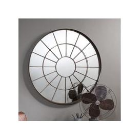 image-Tangent Metal Wall Mirror Round In Bronze Effect