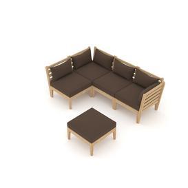 image-Tati Garden Corner Sofa with Cushions Sol 72 Outdoor Colour (Fabric): Brown