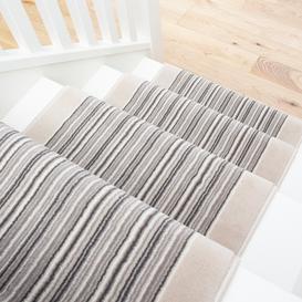 image-Cream Beige Stripey Stair Carpet Runner - Cut to Measure