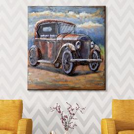 image-Oldtimer Picture Metal Wall Art In Brown