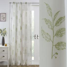image-Tony Slot Top Semi-Sheer Single Curtain Brambly Cottage Colour: Green, Size per Panel: 145 W x 183 D cm