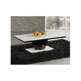 image-Lerona High Gloss Coffee Table With White Top And Black Column