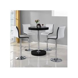 image-Havana Bar Table In Black With 4 Ritz White And Black Bar Stools