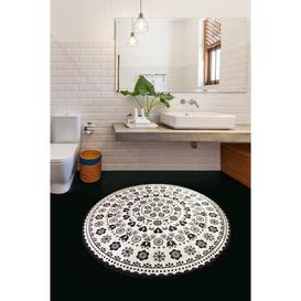 image-Tariq Circle Bath Mat Ophelia & Co. Colour: Black/White, Size: 1cm H x 100cm W x 100cm L