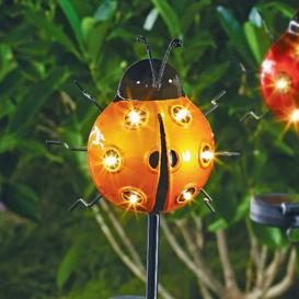 image-Bright Garden Solar Ladybird Stake Light - Orange