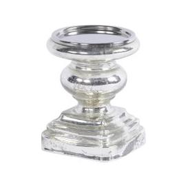 image-Libra Antique Silver Small Square Base Pillar Candle Holder - Xmas-18