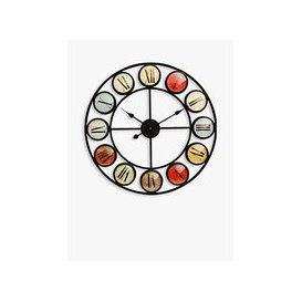 image-Libra Skeleton Round Colour Roman Numerals Wall Clock, 68cm, Black/Multi