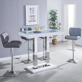 image-Caprice White Grey Glass Bar Table With 4 Candid Grey Stools