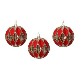 image-Gisela Graham - Harlequin Glass Bauble - Set of 3 - Red/Gold
