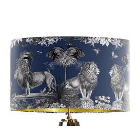 image-Classical Jungle Lion 45cm Cotton Drum Table Lamp Shade Bloomsbury Market