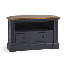 image-Rustic Solid Oak and Painted TV Cabinets - Corner TV Unit - Highgate Range - Oak Furnitureland
