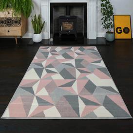 image-Pink Grey Modern Geometric Living Room Rug - Milan