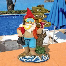 image-Happy Hour Tropical Garden Gnome Statue Design Toscano